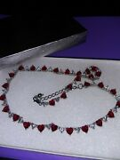 Suzanne Somers Original Red White Heart Cz Necklace Rare Adjustable Gift Jewelry