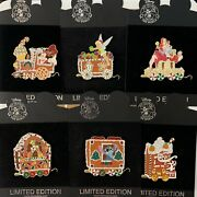 Disney Shopping Holiday Gingerbread Train Jessica Stitch Jack Tink Le100 Pin Set