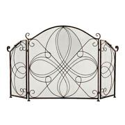 3-panel Wrought Iron Fireplace Safety Screen Decorative Scroll Spark Guard Cover