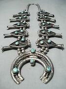 Museum Women's Vintage Navajo Turquoise Sterling Silver Squash Blossom Necklace