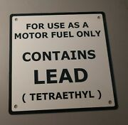 Contains Lead Gas Pump Rustproof Plate Sign..6x 6..white Background..2 Of 3