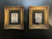 2 Antique Geisha Hand Tinted Photographs On Silk In Two Mid Century Gold Frames