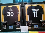 Stephan Curry And Klay Thompson Autographed Framed Authentic Adidas Jerseys