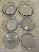 Vintage Lot Set Of 6 Fire King Etched Snowflake Glass Casserole Dishes Pie Plate