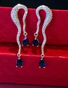 18k White Gold Plated Long Earrings Made W Crystal Blue Sapphire Stone