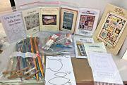 Huge Lot Of Vintage Quilting Knitting Needlework Supplies Thread Needles