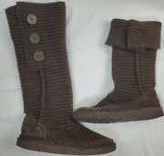 Ugg Cardy Boots Size 7 Brown Sweater Tall Knit Boots W/ Buttons Pre-owned
