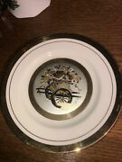 A Pair Of The Art Of Chokin Decorative Plate 24k Gold Edged Flowers Japan