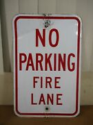 Vintage No Parking Fire Lane City Of Chicago Street Sign 18 X 12
