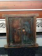 Antique Wooden Green Painted Peek Out Window Door Framed With Antique Brass Lock