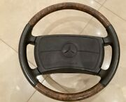 Steering Wheel On Mercedes Benz W123 W124 W126 With Srs - Leather And Wood