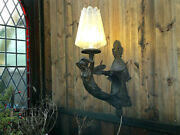Large C1900 French Art Nouveau Bronze Figural Nymph Fairy Wall Light Sconce 24