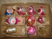 Antique Christmas Tree Ornaments, Thin Glass. Lot Of 10.