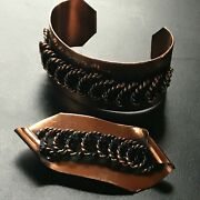 Vintage Demi Solid Copper Cuff W Interlocking Twist Open Circles And Curled Brooch