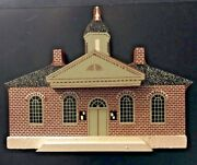 Vintage Wood House Model Colonial Williamsburg Courthouse Hand Painted Folk Art