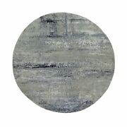 7'x7' Silver Blue Wool And Silk Modern Abstract Design Round Rug G58885