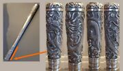 Unusual Size 27cm Antique Repousse Silver Dragon Chinese Walking Stick Handle