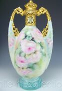 Rare Germany Hand Painted Roses And Raised Jewels 15.5 Tall Handled Urn