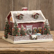 Ragon House Christmas Red Cape Cod Lighted Village House