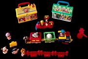Huge Vtg Lot Fisher Price Little People Lunch Box Zoo Animal Train Station L@@k