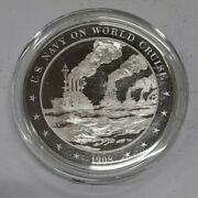 Franklin Mint History Of U.s. Sterling Silver Medal 1908 U.s. Navy World Cruise