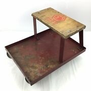 Vintage Matco Tools Metal And Wood Mechanics Creeper Seat Stool Red Made In Usa