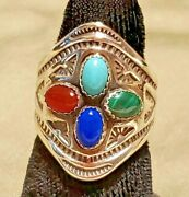 Navajo Size 6 Multi-stone Sterling Silver Collectible Native American Ring Usa