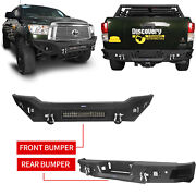 Front Rear Bumper Cover W/ Led Lights For 2007-2013 Toyota Tundra Textured Steel