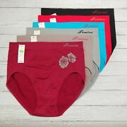 6 12 Pack Women Seamless High Rise Full Coverage Nylon Panty Underwear One Size
