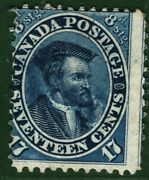 Canada Qv Stamp Sg.42 17c/8d Blue 1859 Mint Mm Cat Andpound1600- Yellow168