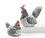 Set Of 2 Chicken And Rooster Figurines Black And Red Poly Resin 10 And 8.3 High