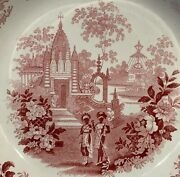 Adams Staffordshire India Temple Warriors Red Transferware Soup Bowl Plate C1830