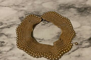 Vtg Champagne Pearl Collar Necklace Ruth Ginsberg Choker Glamour Costume Jewelry