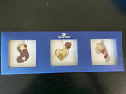 New In Box Crystal Christmas Ornaments Set Stocking Heart Candy Cane
