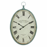 Retro Rustic Oval Metal Wall Clock Large Antique Style Distressed Teal Finish