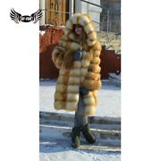 Womenand039s Real Red Fox Fur Coat With Hooded Natural Whole Skin Fur Jacket Overcoat
