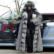 Winter Women Real Silver Fox Fur Coat Big Hooded Thick Warm Whole Skin Overcoat