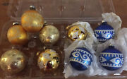 9 Vintage Blue And Gold Pyramid Glass Christmas Ornaments, Silver And Gold Glitter