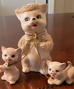 Rare Vintage Ries Japan Hand Decorated Cat Fam Figurines Gold Highlights Antique