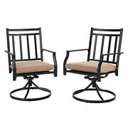 Patio Furniture Swivel Chair Set Of 2 With Cushion Metal Chairs Garden Outdoor
