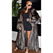 Women Whole Skin Natural Real Silver Fox Fur Coat With Lapel Collar Overcoat