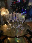 Set Of 7 Crystal Angel Wing Ange Champagne Wine Flute Glass