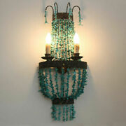 Vintage Turquoise Beaded 2-light Wall Fixture Indoor 2 Candle Light Sconce