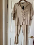 Donna Karan New York Silk Blouse Size 8 And Polished Stretch Pants Size 12 Nwt