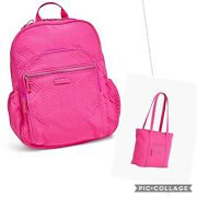 Vera Bradley Iconic Pink Small Vera Tote And Campus Backpack Nwt