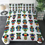 Culture Tribal Mask Tribe King Queen Twin Quilt Duvet Pillow Cover Bed Set