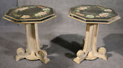 Pair Chinoiserie Reverse Paint Decorated Eglomise End Side Tables Grosfeld House