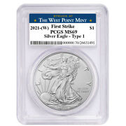 2021 W 1 American Silver Eagle Pcgs Ms69 Fs West Point Label
