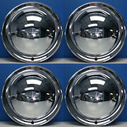 15 Full Moon Smoothie Style Chrome Steel Hot Rod Hubcaps Wheel Covers New Set