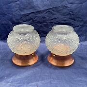 Mid Century Pair Copper Ceiling Fixtures With Hob-nail Art Deco Shades 104e